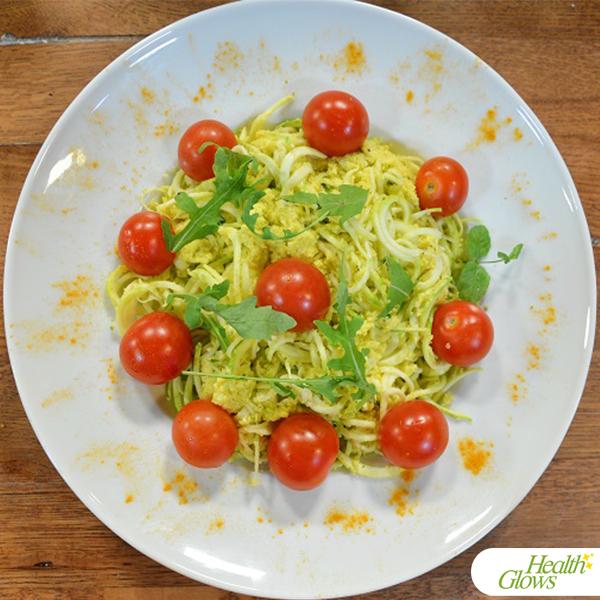 Raw Vegan Spaghetti with Mock Cheese